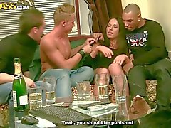 Three drunk boys fuck sexy chick Natalie