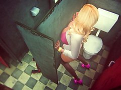 Blonde hentai shemale fucking on public toilet