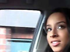 Gorgeous ebony girlfriend blows in the car