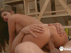 Busty dark-haired Madelyn marie riding on gigantic stiffy