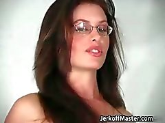 Sexy brunette chick with glasses part1