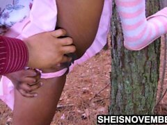 '4k Step Daughter Msnovember Taken Forest For Riding Dick, Squirting Vagina, And Crawling On Her Ebony Knees In Public UHD'