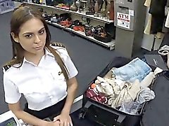 Smoking hot Latina stewardess gets banged in the pawnshop