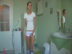 belarusian Natasha at water closet