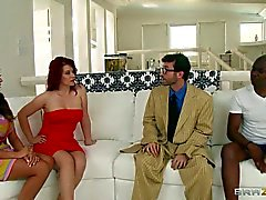 Interracial swinging with Ariella Ferrera and Sarah Blake