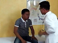 Asian twink gets a blowjob from doctor