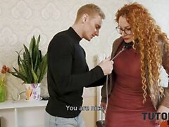 TUTOR4K. Instead of learning English guy seduces his experienced tutor