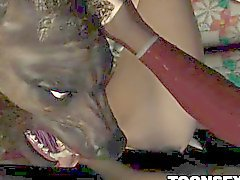 3D babe licked and fucked by a wolf