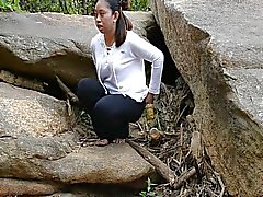 Filipina pissing out doors public piss