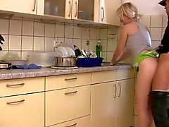 Young german blonde fucked during washing-up