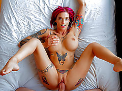 Inked up MILF gets her pussy filled with cum