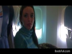 Brunette amateur shows tits and sucks cock in airplane