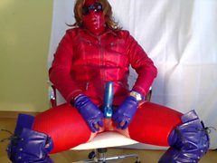 GLOVER - red&blue leather jerking