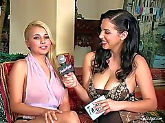 Young blonde Jelena Jansen has hot interview in close up