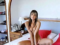 Flirty petite blonde gal teases on cam then drilled hard